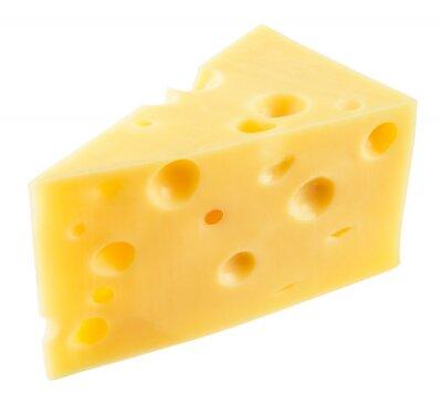 Sticker Pièce de fromage isolé. Avec le chemin de détourage.