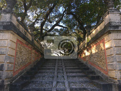 Pierre, escalier, Vizcaya, courtry, Parc, Miami, Floride