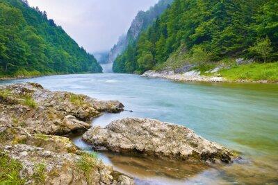 Sticker Pierres sur berge dans les montagnes. Les gorges de la rivière Dunajec