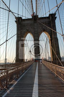 Piéton, promenade, brooklyn, pont, Manhattan