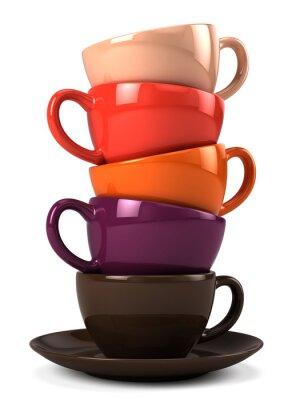 Sticker Pile, café, tasses, isolé, blanc