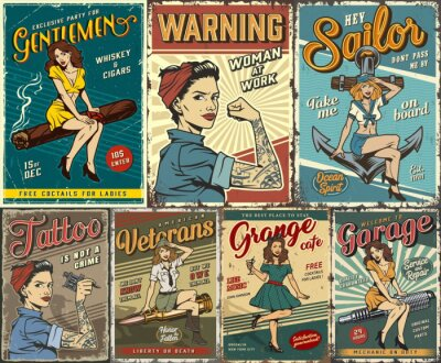 Sticker Pin up colorful posters set