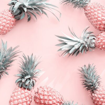 Sticker Pine Apple Tropical Fruit Pink Natural Organic