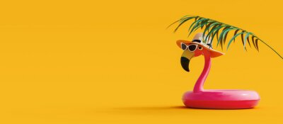 Sticker Pink flamingo with sunglasses and hat under palm leaf on yellow summer background 3D Rendering, 3D Illustration