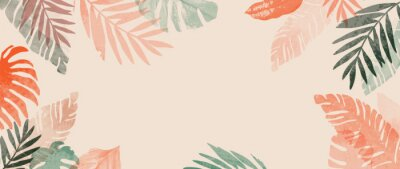 Sticker Pink summer tropical background vector. Palm leaves, monstera leaf, Botanical background design for wall framed prints, wall art, invitation, canvas prints, poster, home decor, cover, wallpaper.