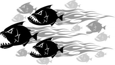 Sticker Piranha Feeding Frenzy