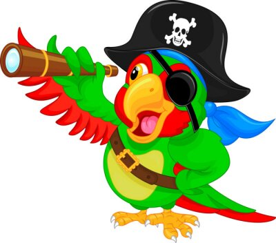 Sticker Pirate, perroquet, bande dessinée