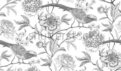 Sticker Pivoines et faisans. Modèle sans couture vintage floral exotique avec des fleurs et des oiseaux. Blanc et noir. Style oriental. Illustration vectorielle Pour textiles design, papier d'emballage, p