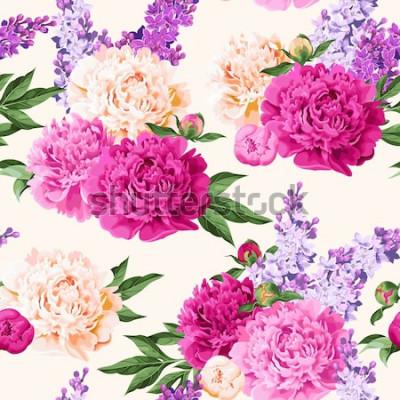 Sticker Pivoines et lilas sans couture de couleurs variées