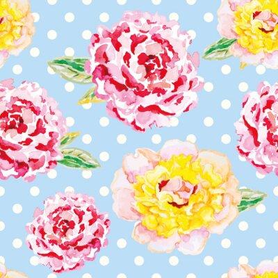 Sticker Pivoines roses et jaunes sur le fond bleu-clair de point de polka. Aquarelle modèle sans soudure avec des fleurs. Mauvais chic.