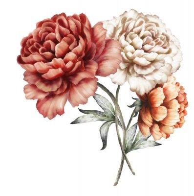 Sticker Pivoines rouges. Fleurs d'aquarelle. Illustration florale dans des couleurs en pastel. Bouquet de fleurs isolé sur fond blanc. Feuille. Composition romantique pour le mariage ou la carte de voeux.