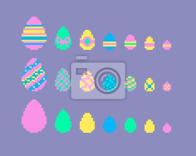 Sticker Pixel Art Ensemble Doeufs De Pâques
