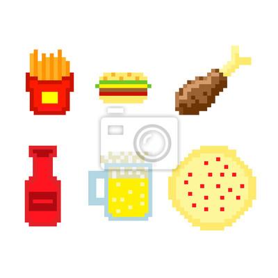 Sticker Pixel Rapide Nourriture Vecteur
