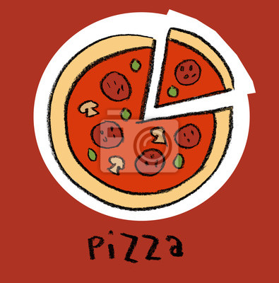 Pizza sur fond rouge