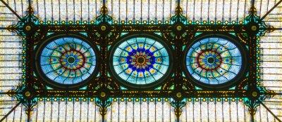Sticker Plafond de vitrail coloré dans un style floral art nouveau