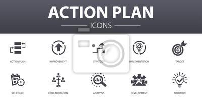 Sticker plan d'action simple concept d'icônes définies. Contient des icônes telles que l'amélioration, la stratégie, la mise en œuvre, l'analyse et plus encore, peut être utilisé pour le Web, les logos, les U