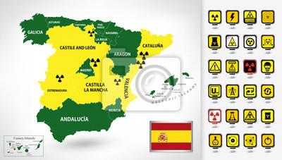 Plan de la centrale nucléaire de l'Espagne avec des pointeurs 3D