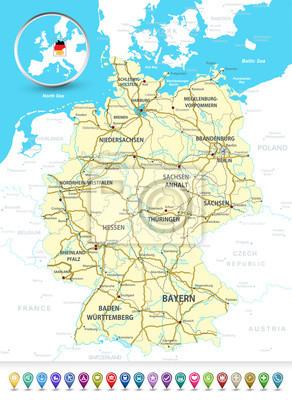 Plan détaillé de l'Allemagne avec une bulle 3D GPS marqueurs