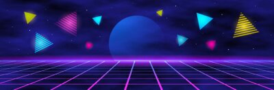 Sticker planet and geometric triangles on the background of the landscape laser grid in space.