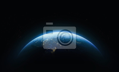 Sticker Planet Earth in outer space. Civilization. Elements of this image furnished by NASA