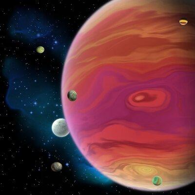 Sticker Planète de Jupiter - Jupiter est la plus grande planète géante gazeuse dans notre système solaire avec 67 lunes et a un grand vortex de tache rouge au-dessous de l'équateur.