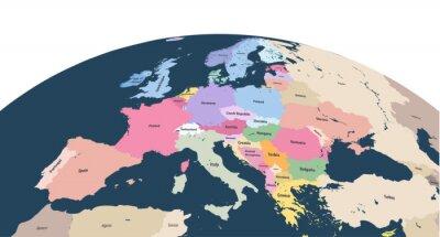 Sticker planète planète globe terrestre avec gros plan de l'Europe continent