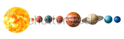 Sticker Planets of the solar system, 3D rendering isolated on white background, Elements of this image furnished by NASA