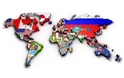 Sticker Planisfero mondo 3d con bandiere dans rilievo