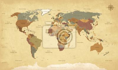 Sticker Planisphère Mappemonde Vintage - texte en français. vecteur