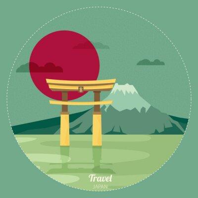 Sticker Plat, conception, paysage, Japon, Illustration, vecteur