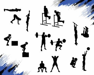 Sticker Plusieurs silhouettes masculines font des exercices de crossfit différents et travaillent isolé sur fond blanc. Illustration vectorielle pour le web et l'impression.
