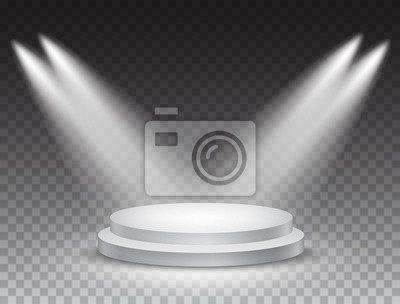 Sticker Podium stand isolated on transparent background. White circle plinth, pillar or display stage. Vector empty prize pedestal with projector light beams.