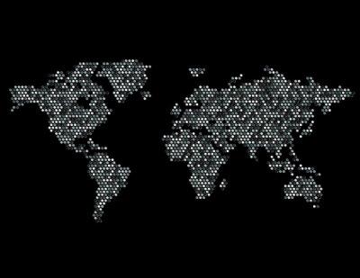 Sticker Pointillé Carte du monde Continents aléatoire Gris