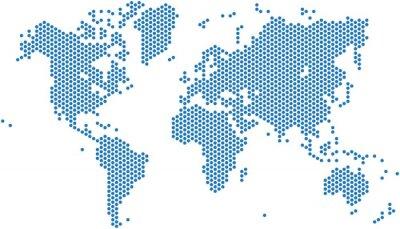 Sticker Points carte du monde sur fond blanc, illustration vectorielle.