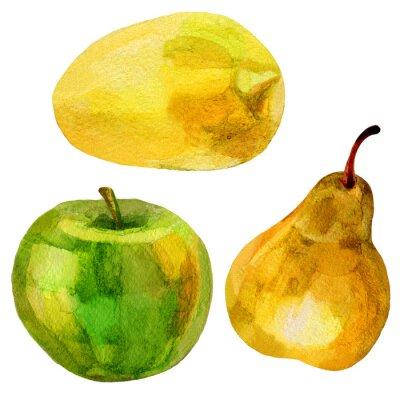 Sticker Poire, banane, main, dessiné, peinture, aquarelle, illustration, blanc, fond