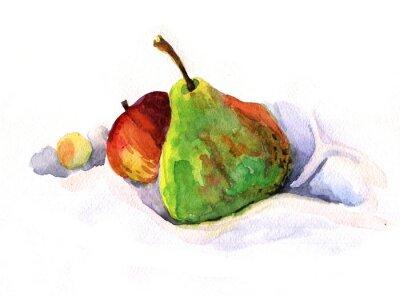 Sticker Poire et pomme, aquarelle