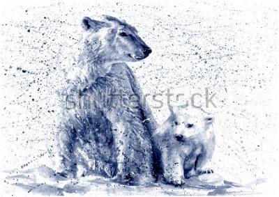 Sticker Polar bear black&white