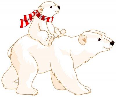 Sticker Polar Bear maman et bébé