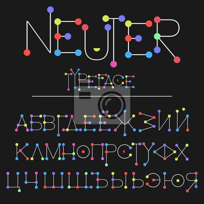 Sticker Police moderne faite avec des points / neutre typeface mince ligne style / flat police abc et chiffres Alphabet russe