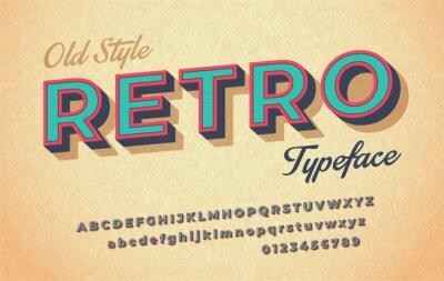 Sticker Police rétro colorée en italique et alphabet des années 80, 90.
