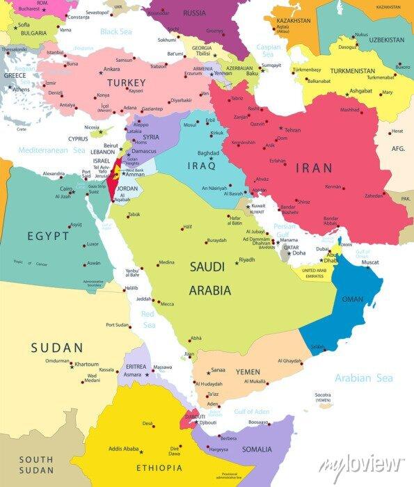 Sticker Politique, carte, Moyen-Orient, Asia, isolé, blanc