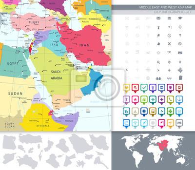 Politique, carte, Moyen-Orient, Asie, carrée, plat, icônes