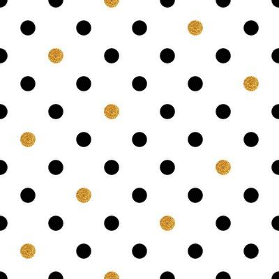 Sticker Polka dot fond transparent en or et couleurs noires.
