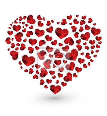 Polygonales coeurs rouges géométriques de cœur