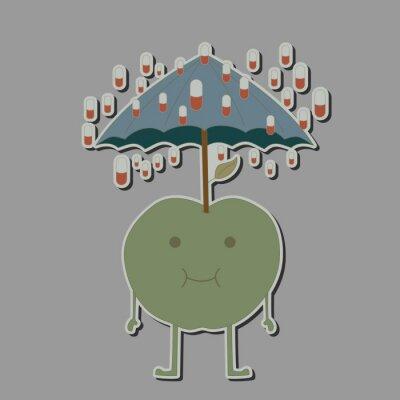 Sticker Pomme avec parapluie et pluie comprimés