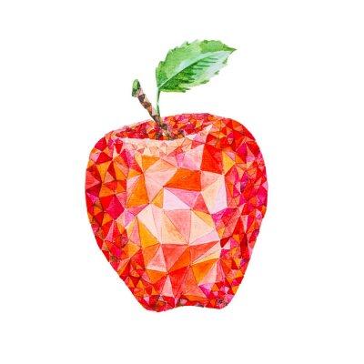 Sticker Pomme basse aquarelle poly