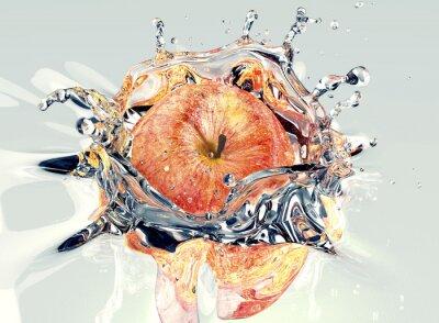 Sticker Pomme faling et éclaboussures dans l'eau