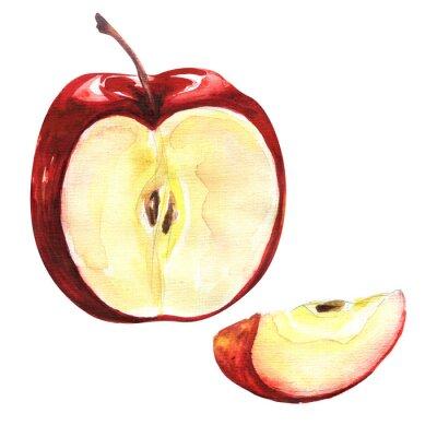 Sticker Pomme rouge isolé sur fond blanc découpe
