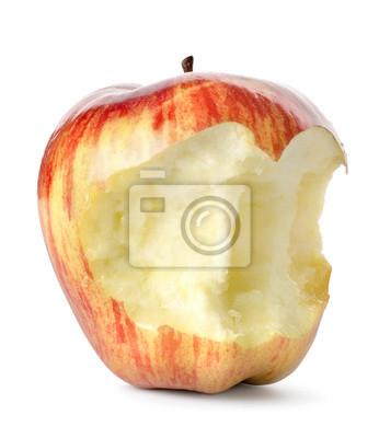Pomme rouge mangé isolé
