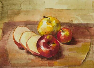 Sticker Pommes, planche à découper, encore, vie, aquarelle, peinture